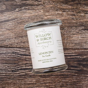 Lemon Zen natural scented soy candle made with essential oils from Willow & Birch Apothecary