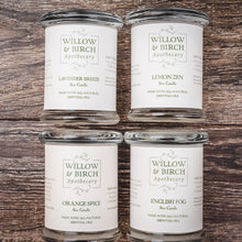 Natural scented soy candles made with essential oils from Willow & Birch Apothecary