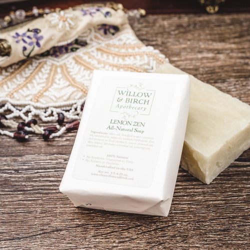 Lemon Zen natural scented moisturizing botanical soap with essential oils from Willow & Birch Apothecary