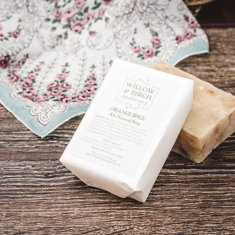 Orange Spice natural scented moisturizing botanical soap with essential oils from Willow & Birch Apothecary