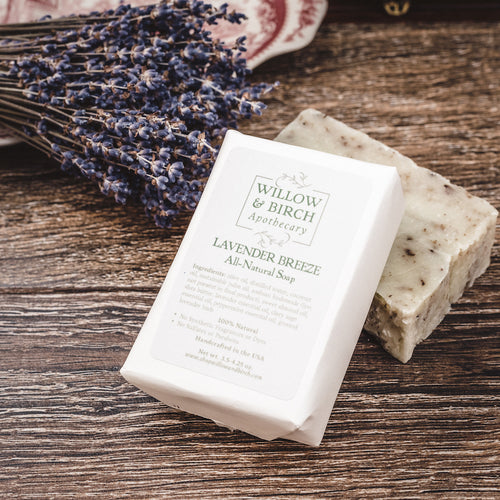 Lavender Breeze natural scented moisturizing botanical soap with essential oils from Willow & Birch Apothecary