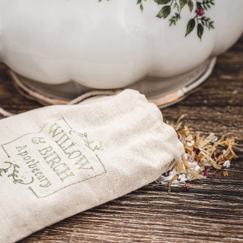 Rose and Calendula botanical bath tea epsom soak by Willow & Birch Apothecary