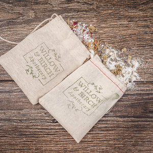 Natural botanical bath tea epsom soak by Willow & Birch Apothecary