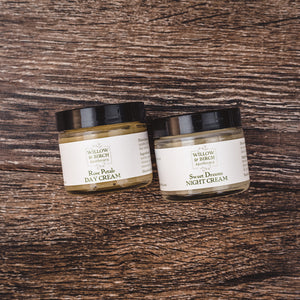 Natural moisturizing face cream set with Rose Petals Day Cream and Sweet Dreams Night Cream from Willow & Birch Apothecary