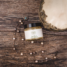 Rose Petals Day Cream natural moisturizing face cream from Willow & Birch Apothecary with antique jewelry and powder box