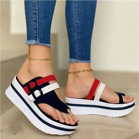 Women's Fashion Color Block Platform Comfortable Sandals