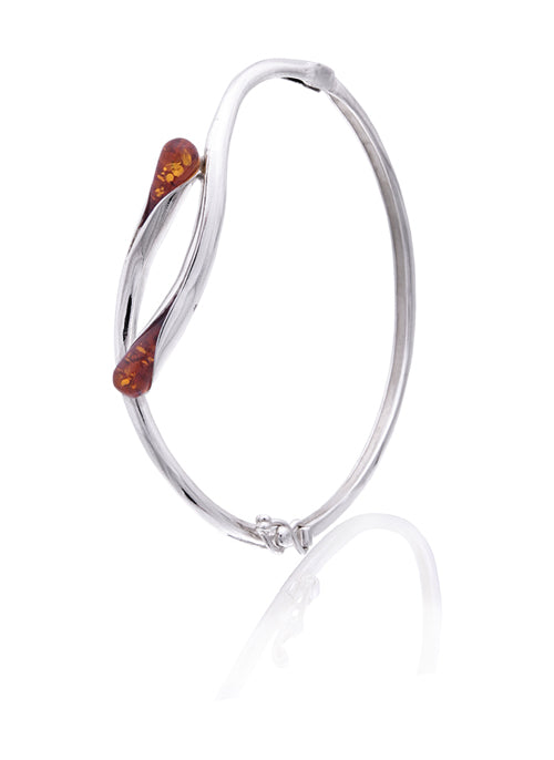 Bangle Bracelet Honey Amber Teardrop Inserts