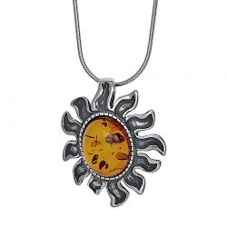 Honey Amber Sun Pendant
