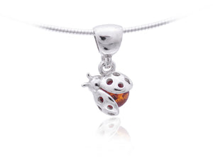 Lady Bug Pendant Amber Gem