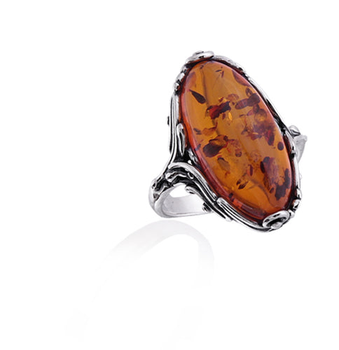 Honey Oval Old Fashioned Oxidized Amber and Silver Ring