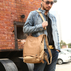 Military Shoulder Bag Casual Cotton Canvas Leather Backpack Rucksack