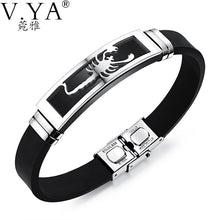 PU Leather Bracelet Stainless Steel Scorpion Silver or Gold
