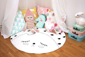 Sad Face Baby Play Mat Nordic Style Off White and Black