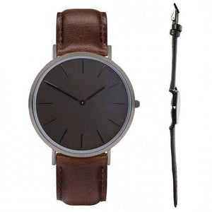 All Black Genuine Leather Quartz Movement Black Out Watch