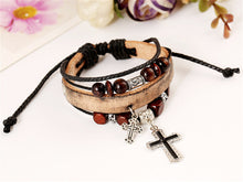 Leather Bracelet with Cross and Beads