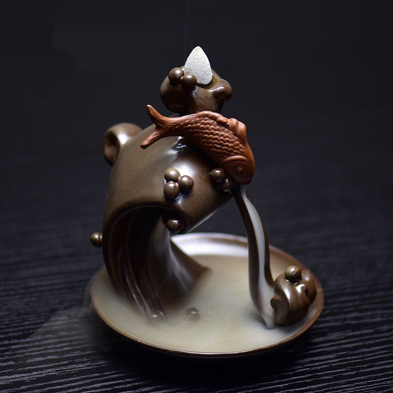 Backflow Incense Burner Ceramic Koi Fish