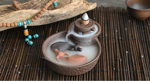Small Back Flow Incense Ceramic Stonewashed Tower 2 Bulls