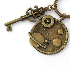 Steampunk Keychain & Keyring Gears Antique Bronze Color Crown Key