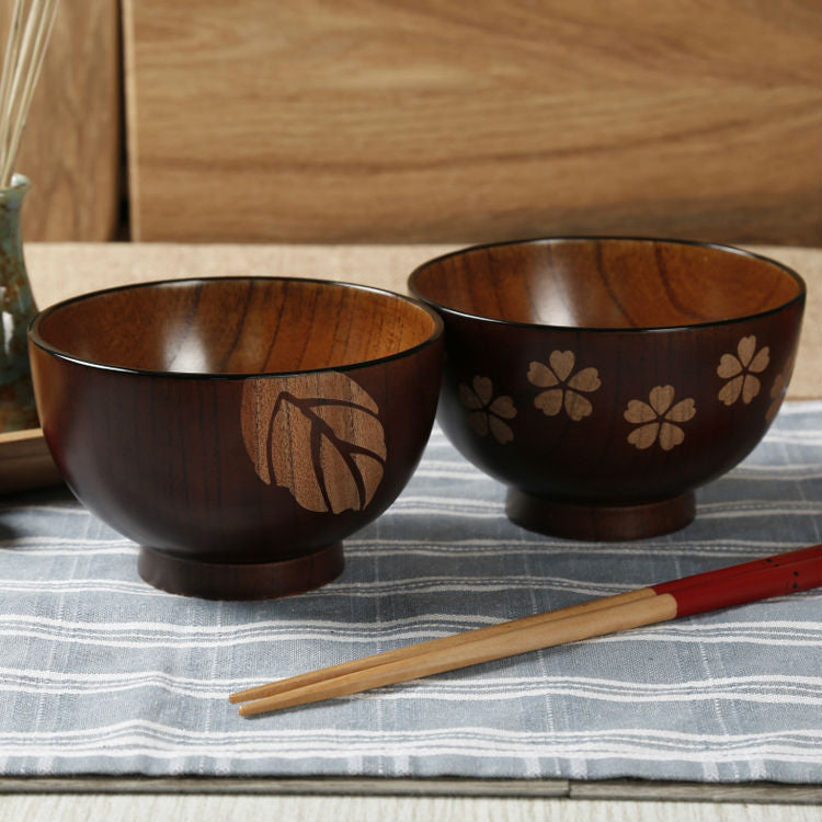 2pc Premium Wooden Bowls Leaf/Flower Pattern Jujube Wood