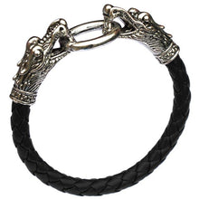 Tibetan Silver Dragon Braided Leather Bracelet Titanium