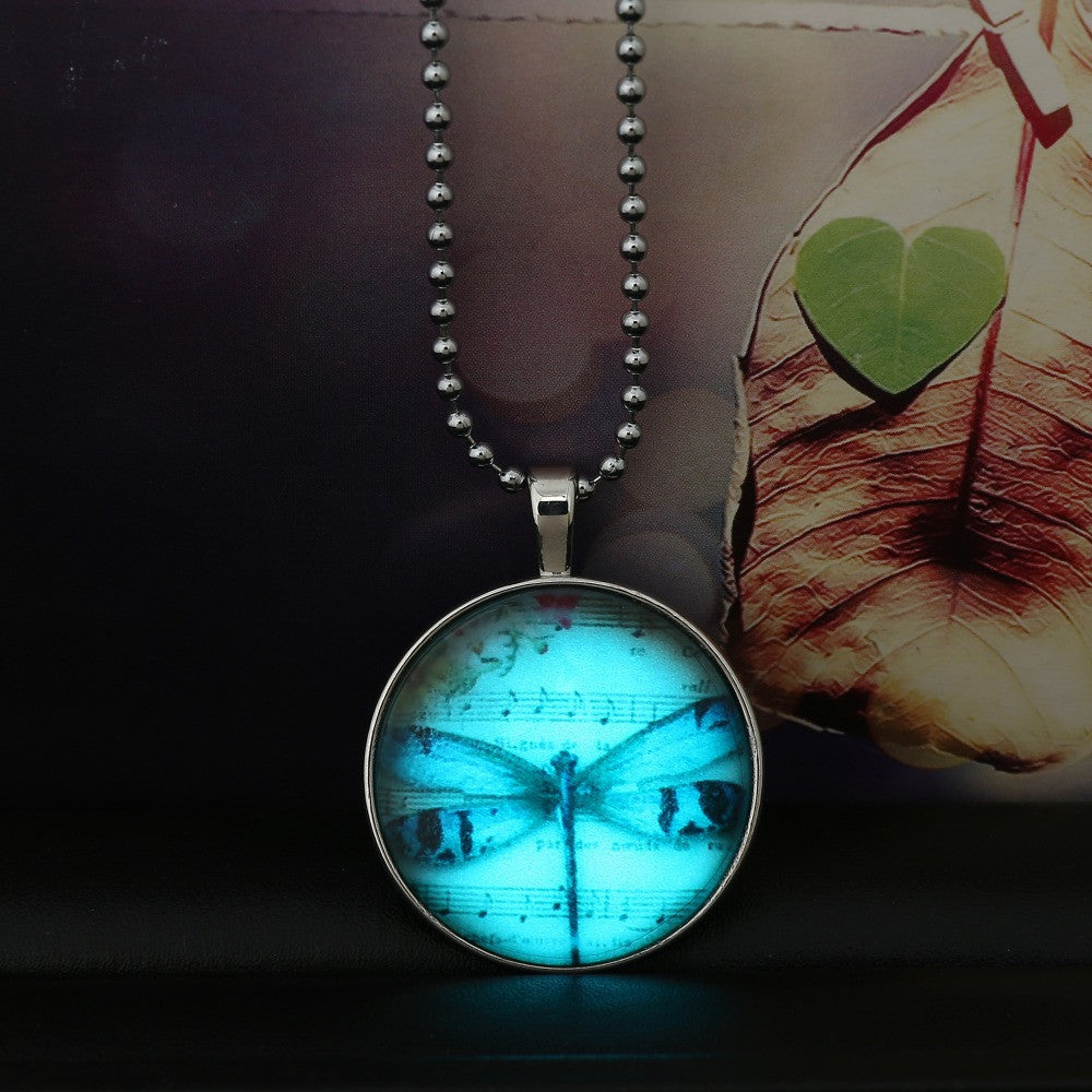 Dragonfly Music Symbol Glowing Necklace Vintage Steampunk