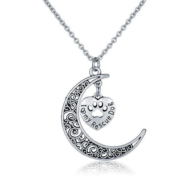 Pet Jewelry Love My Rescue Dog Jewelry Crescent Moon and Heart
