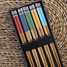 5 Pair Japanese Bamboo Chopsticks Patterned Design with Gift Box