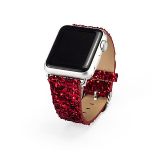 Bling Sequin Shiny Glitter PU Leather Band for Apple Watch 38 and 42mm