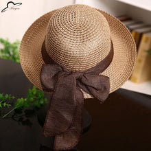 Women's Fashion Straw Sun Hat for Summer with Band and Bow - 7 Colors!