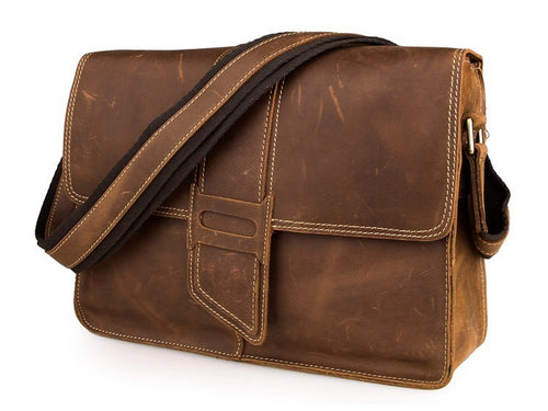 Vintage Inspired Distressed Crazy Horse Leather Cross Body