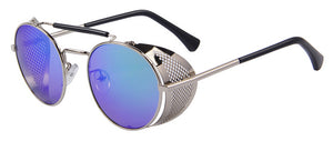 Women's Retro Design Round Steampunk Sun Glasses with Side Guard