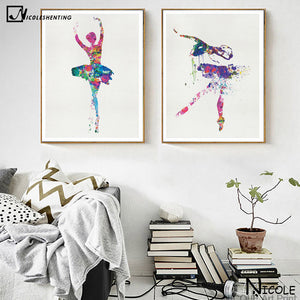 Ballerina Ballet Dance Girl Minimalist Art Canvas Poster Watercolor
