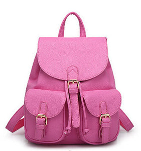 Women Leather Backpack Handbag Large Girl Schoolbag