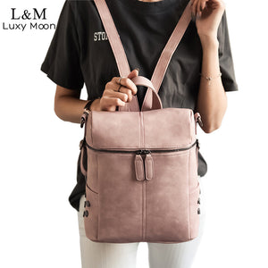 Simple Backpack PU Leather Teenage Girls School Bags