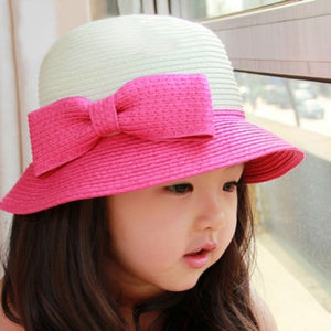 Girls Straw Bow Tie Sun Hat Large Brim Beach Cap