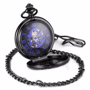 Blue Analog Men's Mechanical Movement Steampunk Pocket Watch
