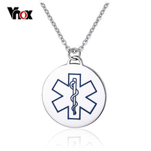 "Stainless Steel Medical Alert ID Necklace Round Dog Tag with 24"" Chain"