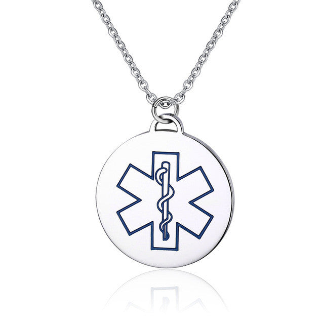 Stainless Steel Medical Alert ID Necklace Round Dog Tag with 24