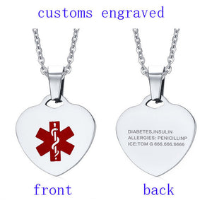Stainless Steel Heart-shape Medical Alert ID Tag Necklace & Pendant