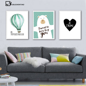 Watercolor Bear Balloon Heart Canvas Poster Minimalist Painting