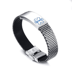 Medical Alert Bracelet Bangle Stainless Steel ID Hard Chain Black Silicone