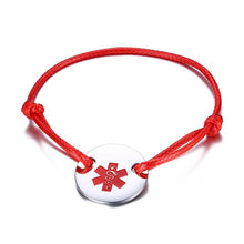 Medical Alert ID Star of Life Bracelet Stainless Steel Coin Cord Rope Bangle