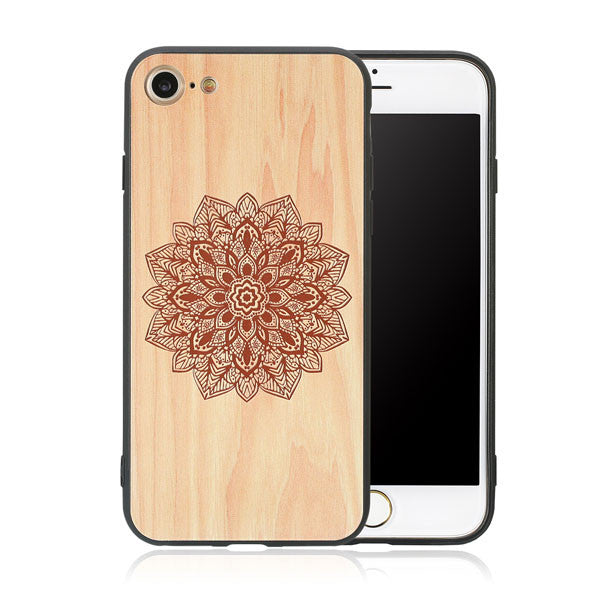 Wood Case For iphone 7 7 6 6s Plus Retro 3D Embossed Flower Paisley Mandala Henna Wooden Phone Cases