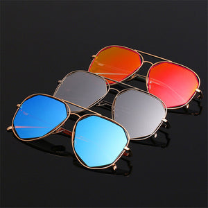Women Sunglasses Twin-Beam Aviation Mirror Flat Panel Lens Shades