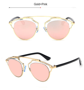 TSHING Classic Rose Gold Cat Eye Sunglasses Women Brands Designer Mirror Sun Glasses Female Oculos