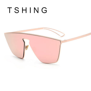 TSHING Fashion Women Rose Gold Coating Cat Eye Sunglasses with One Piece Lens