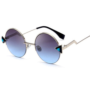 Steampunk Round Mirror Sunglasses with Triangle Accent
