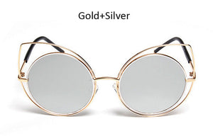 Round Large Hollow Metal Frame Cat Eye Sunglasses