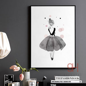 Watercolor Girls Canvas Art Print Ballerina Dancer