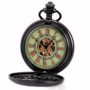 Roman Numerals Steampunk Pocket Watch Green Face